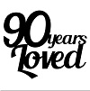90 YEARS LOVED Pack of 5 50 x 50 mm Min 1 pack also available in